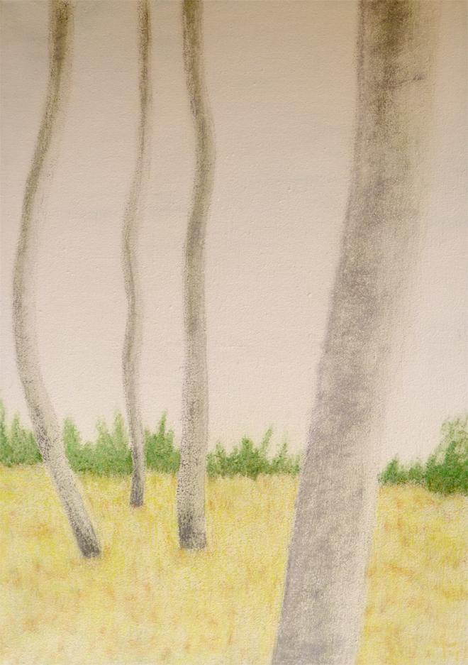 Toile mix pastel, série Danse des arbres